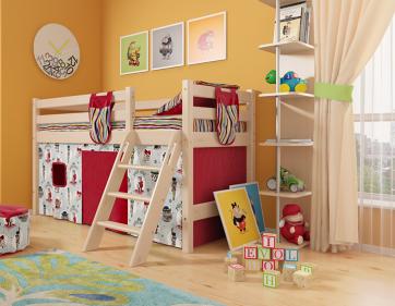 """Низкая кровать """"Соня"""" с наклонной лестницей. Вариант 12"""