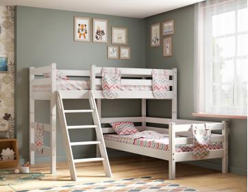"""Угловая кровать """"Соня"""" с наклонной лестницей. Вариант 8"""