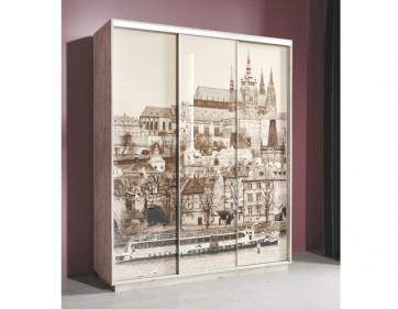 """Шкаф-купе """"Леон 2"""" с фотопечатью на стекле """"Прага"""" 1770 (Дуб бонифаций)"""