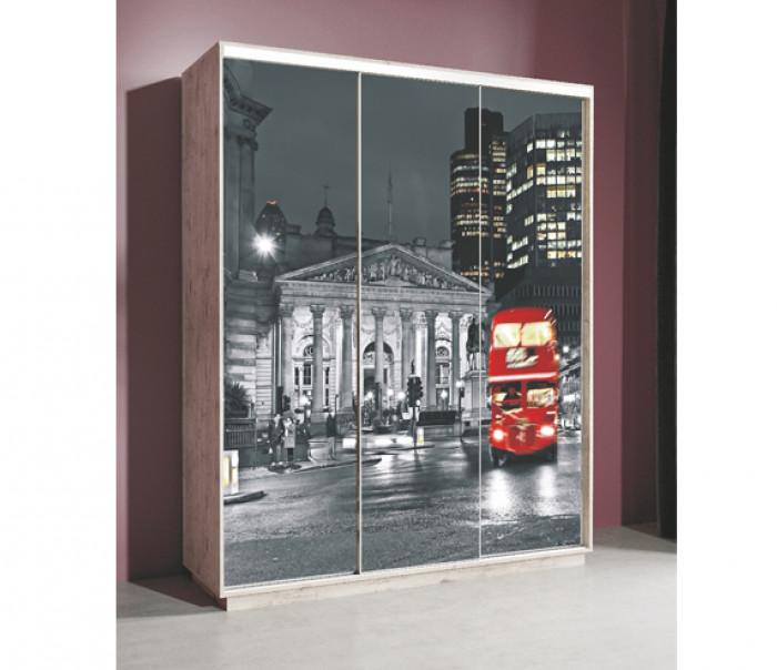 """Шкаф-купе """"Леон 2"""" с фотопечатью на стекле """"Лондон"""" 1770 (Дуб бонифаций)"""
