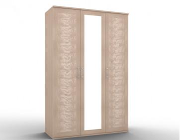 "Шкаф для одежды-03 2 фасада кожа 1 фасад зеркало ""Gloss"""