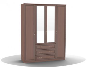 Шкаф для одежды-04 (фасад с 2 зеркалами) Волга